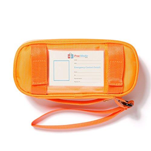PracMedic- Epipen Carrying Case or Insulin Case - Premium Quality with YKK Zipper - fits Epi Pens, generic Benadryl, Asthma Inhaler, Nasal Spray, Eye Drops, Syringes, Vials, Ice Packs - Orange by PracMedic Bags (Image #3)