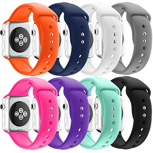 Apple Watch Band Series 1 Series 2 Series 3, HandyGear Ultra Sporty Silicone Replacement Strap Band for Apple Watch (38MM S/M 8PACK Ultra GP2)