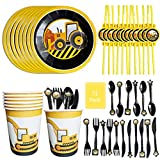 72 Pack Construction Party Disposable Tableware Set, DreamJ Construction Party Supplies with Construction Plates, Cups,Spoons, Forks,Knives,Straws Serves12 for for Kids Birthday Party Decorations