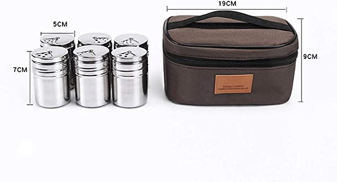 INFILM 6 Pcs Portable Stainless Steel Seasoning Bottle with Rotating Lids and Travel Bag,Outdoor Barbecue Spice Jars Shaker Rub Container Tins for Camping Hiking