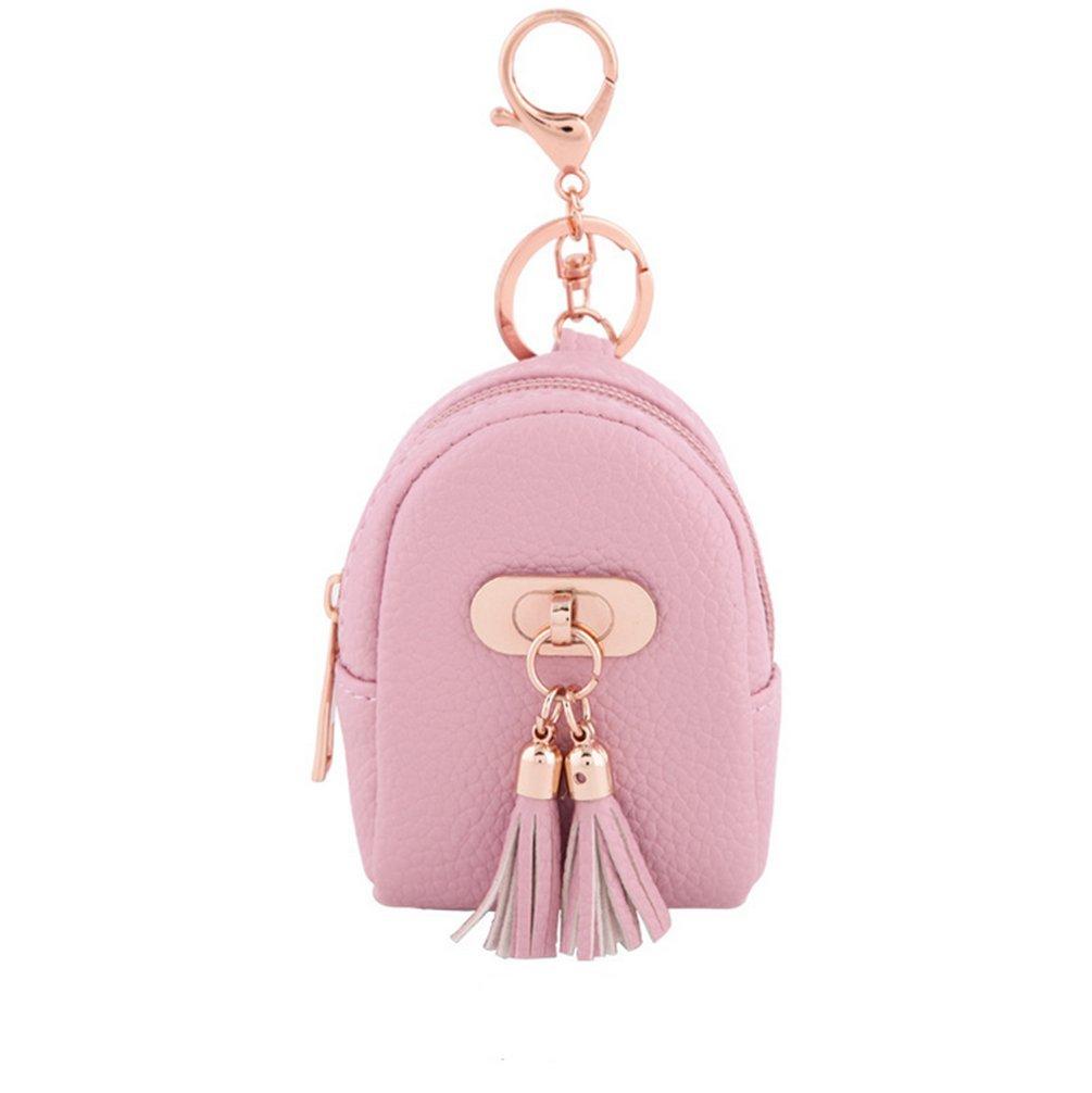 IVYRISE Cute Mini Zipper Bag Mini Zip Coin Purse Lobster Clasp Keychain Tassel Hanging Wallet Black DQPURSE-BLACK