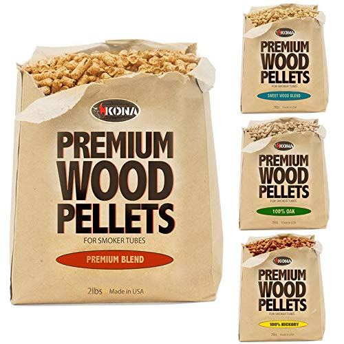 Kona Best Wood Smoking Pellets - Grilling Smoker Tube Pellets Variety Pack - 100% Hickory, Premium Blend, 100% Oak, Signature Sweetwood Blend - 2 Pound Bags by Kona