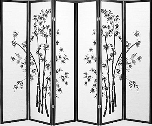 - Legacy Decor 6 Panel Black Bamboo Print Oriental Shoji Screen Room Dividers