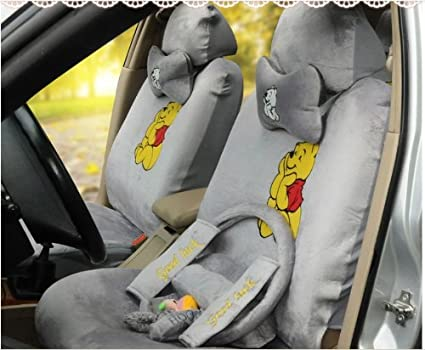 Gray Winnie The Pooh Universal Auto Car Cushion Front Driver Pillow Steering Wheel Covers