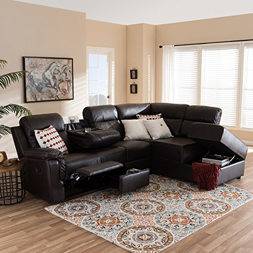 - Baxton Studio Roland 2 Piece Faux Leather Reclining Sectional in Brown