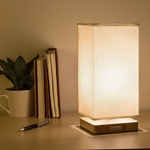 HAITRAL Bedside Table Lamp - Minimalist Wooden Bedside Desk Lamps with Square Fabric Shade Nightstand Lamp for Bedroom, Dresser, Living Room, Kids Room, College Dorm, Coffee Table, Bookcase ()