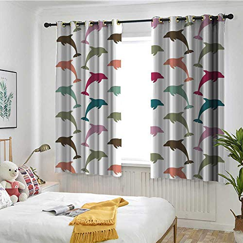 """Price comparison product image Beihai1Sun Sea Animals Custom Curtain Colorful Dolphin Figures on White Background Ocean Marine Animal Illustration Embossed Thermal Weaved Blackout W 63"""" XL 45"""" Multicolor"""