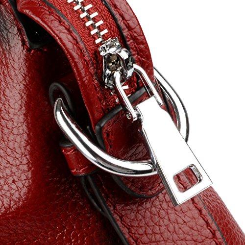 Capacidad de Hombro Zipper Mujer Rojo Mano Trabajo Cierre Cuero Yaluxe Bolso Gran zBqEE6