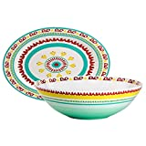 Euro Ceramica Alecante Collection Fall-Inspired Ceramic Serving Assortment, Oval Platter & Round Serving Bowl, 2 Piece Set, Multicolor