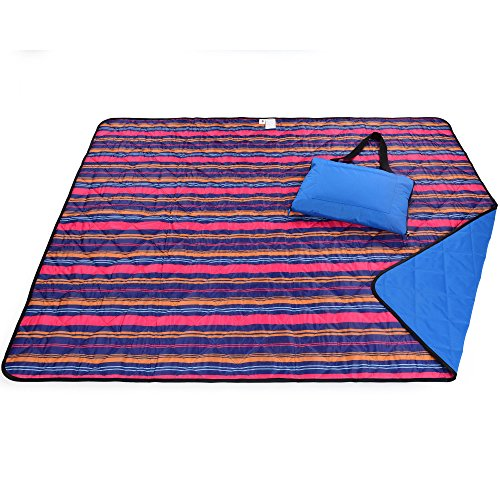 Roebury Picnic Blanket & Beach Blanket - Large Oversized Water-Resistant Sandproof Mat for Outdoor Travel or Camping Folds into a compact Tote Bag (Stripes Pink/Yellow/Blue) (Outdoor Blanket Zip Up)