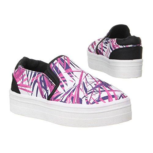 Ital-Design Damen Schuhe, 50225, Freizeitschuhe Pink Lila