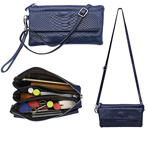 Crossbody Bags for Women, Shalwinn Women's Genuine Leather Crossbody Bag Purse Wristlet Wallet Clutch Purse for Women Girls Teens (Sapphire Blue)