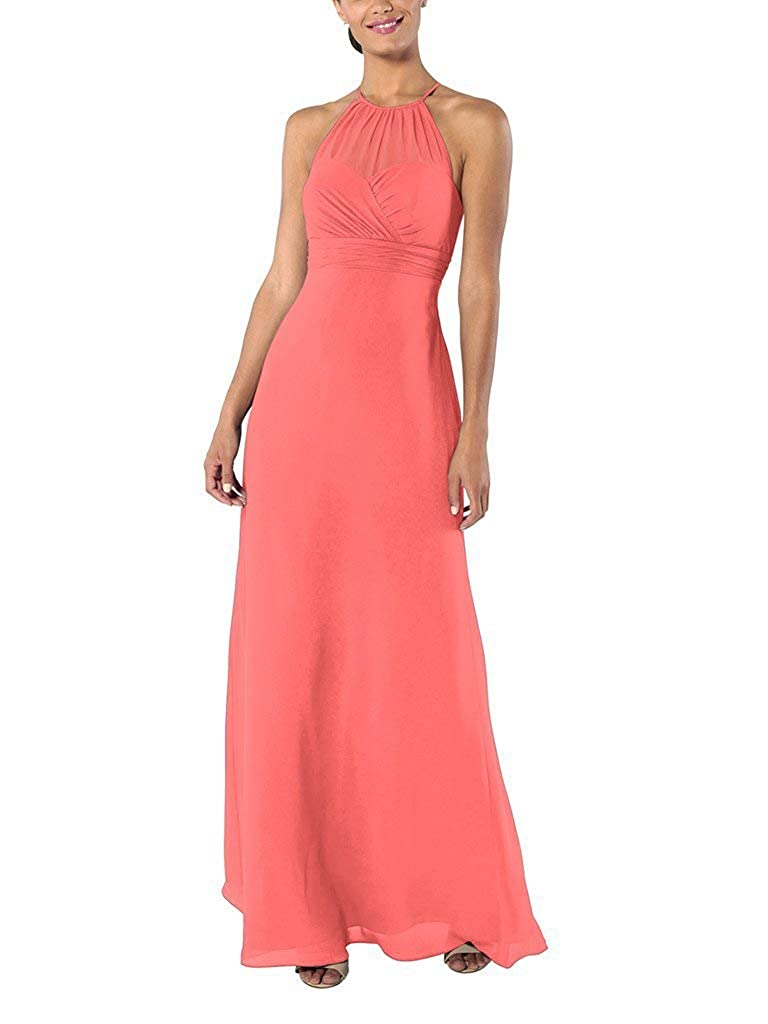 Coral YnanLi Dress ALine Halter Neck Bridesmaid Dresses Long Wedding Party Evening Gown