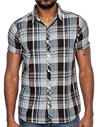 Men's Business Casual Short Sleeve Plaid Button Down Fitted Shirt