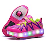 Nsasy LED High Top Roller Sneaker Single Wheel Double Wheel Light Up Shoes (34 EUR / 3 M US Little Kid, Blue/Yellow(Double Wheel))