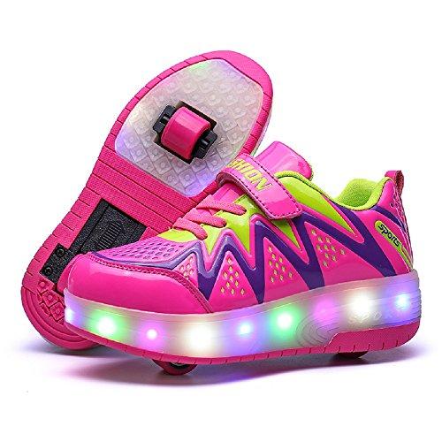 Nsasy LED High Top Roller Sneaker Single Wheel Double Wheel Light Up Shoes (34 EUR / 3 M US Little Kid, Blue/Yellow(Double Wheel))]()