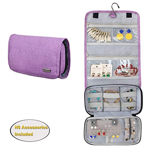 Teamoy Hanging Jewelry Organizer, Jewelry Roll Travel Bag with Multiple Compartments and Hooks for Rings, Necklaces, Earrings, Bracelets and More-No Accessories Included, Purple