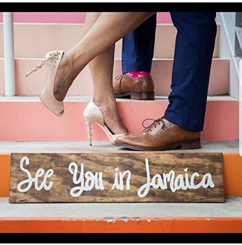 Georgia Barnard Destination Wedding Sign, Engagement Sign, Save The Date, Engagement Photo Prop, Personalized, Custom Made, Wooden Sign, See You in Jamaica 6 x 22 x 0.2 Inch -