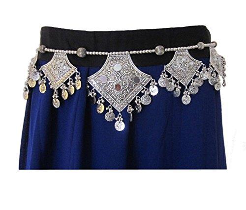 Original Design Fashion Tie Belt- Tribal Gypsy Coin Belt Belly Dance Dancer Costume Dress Pants Skirt Hip Scarf Accessory- Kuchi Banjara Boho Hippie Bohemian Festival Style Decorative Waist Jewelry -