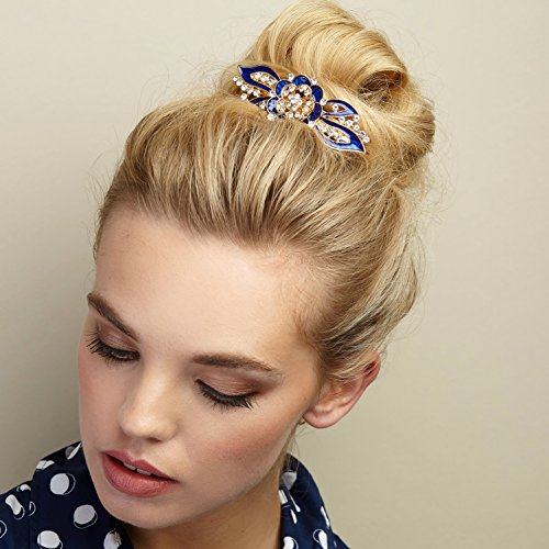 QueenMee Vintage Flower Hair Clip Flower Vintage Hair Clip Gold Vintage Hair Clip Enamel Hair Clip Enamel Barrette Flower Hair Clip Flower Barrette Bridesmaid Hair Clip (Blue)