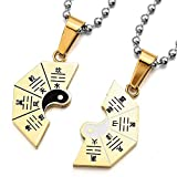 UM Jewelry Stainless Steel Puzzle Couples Necklace for Him and Her Tai Chi Yin Yang Split Pendant