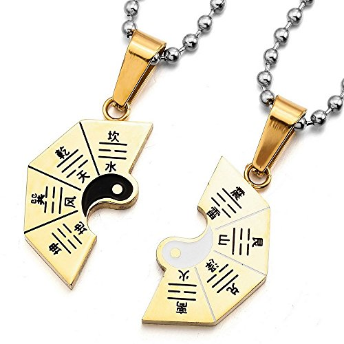 - UM Jewelry Stainless Steel Puzzle Couples Necklace for Him and Her Tai Chi Yin Yang Split Pendant