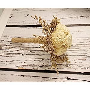 Small Rustic Wedding Bridesmaids Bouquets Made of Ivory Flowers Dried Limonium Burlap Lace and Pearl Pins 5