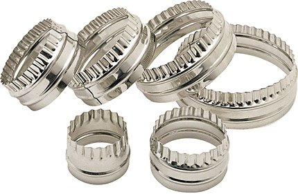 Set Of 6 Stainless Steel Double Edged Biscuit Pastry (Round Stainless Steel Cutter)