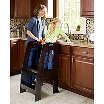 Guidecraft Kitchen Helper Tower Step Up Espresso Adjustable Counter Height Toddler Step Stool With Handholds For Little Children Kids Learning