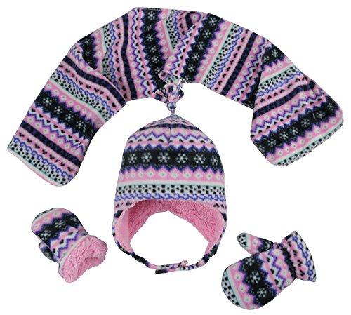 N'Ice Caps Girls Sherpa Lined Fair Isle Printed Fleece Hat/Scarf/Mitten Set (2-3 Years, Black Fair (Printed Fleece Mitten)