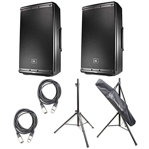 "12"" Two-Way Multipurpose Self-Powered Sound Reinforcement Speakers Pair w/Stands & Cables - JBL EON612"