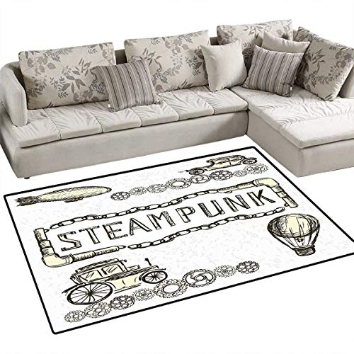 Sketchy Door Mats Area Rug Balloon Antique Cars Design with Quote in Middle Saying Steampunk Bath Mat Non Slip 3'x5' Ivory Dark Olive Green