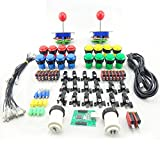 BLEE kit Arcade Machine DIY Parts with 2 Player USB Board Arcade Joystick Push Button and Microswitch for Coin Operated Game Accessories