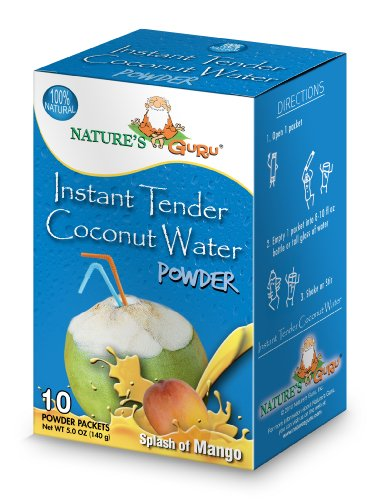 (Nature's Guru Instant Tender Coconut Water Powder, Mango, 10 Count Single Serve On-the-Go Drink Packets)