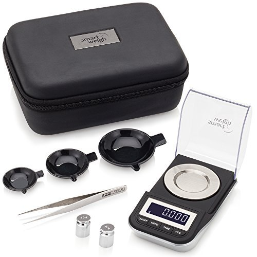 - Smart Weigh Premium High Precision Digital Milligram Scale with Case, Tweezers, Calibration Weights and Three Weighing Pans, 50 x 0.001grams