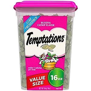 TEMPTATIONS Classic Crunchy and Soft Cat Treats Blissful Catnip Flavor, 16 oz. Tub