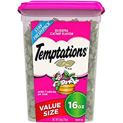 TEMPTATIONS Classic Treats for Cats Blissful Catnip Flavor 16 Ounces; With Our Mouthwatering Menu We Have a Flavor For Every Feline