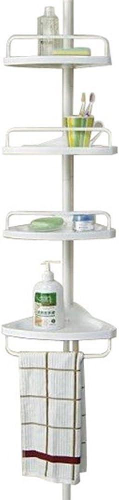Estantería de ducha telescópica para colgar en la esquina de color blanco para cocina, cuarto de baño, 4 niveles