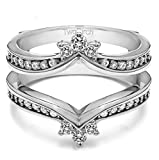 Sterling Silver Crown Inspired Contour Ring Guard with Cubic Zirconia (0.38 ct. tw.)