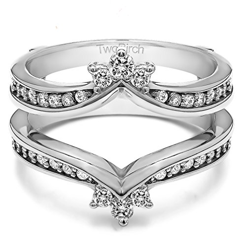 3/8 ct. Diamonds (G-H,I2-I3) Crown Inspired Contour Ring Guard in Sterling Silver (0.38 ct. twt.) by TwoBirch