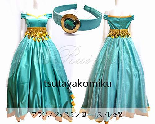 コスプレ衣装+髪飾り ディズニー アラジン ジャスミン ドレス ワンピース 風 セット