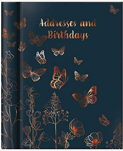 Papillon GBCC-BFYADDBK Geburtstags- und Adressbuch, A5, illustriertes Schmetterlings-Design, attraktive Folienoberfläche