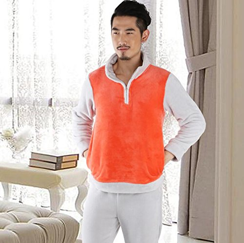 LJ&L Couple Coral Velvet Sleeve Long Sleeve Flannel Thicker Pajamas Set Breathable Pajamas Comfortable Home Service,Men,XL by LIUJIANGLONG
