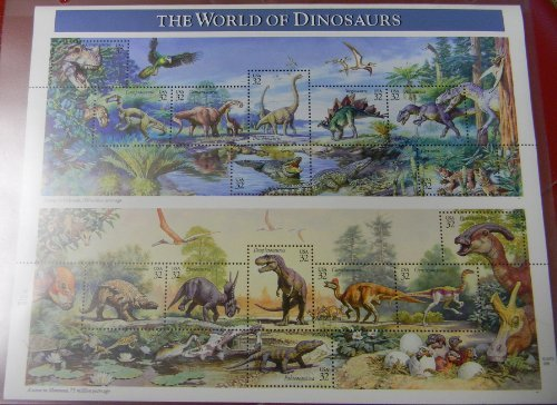 1997 The World of Dinosaurs Sheet of Fifteen 32 Cent Postage Stamps Scott 3136 By USPS ()