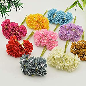 GSD2FF 6 pcs Gift Box Scrapbooking Mini Carnation Silk Artificial Flowers Bouquet for Wedding Decoration DIY Wreath Craft 50