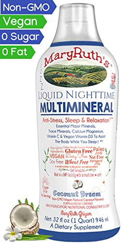 (Liquid Sleep Multimineral by MaryRuth (Coconut) Vegan Vitamins, Minerals, Magnesium, Calcium & MSM | Natural Sleep & Stress Aid | Muscle Relaxation | NO Melatonin | Non-GMO Paleo 0 Sugar 0 Fat 32oz)