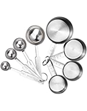 Garta 8Pcs Measuring Cups Premium Stackable Kitchen Measuring Spoon Set Steel Measuring Cups and Spoons Set