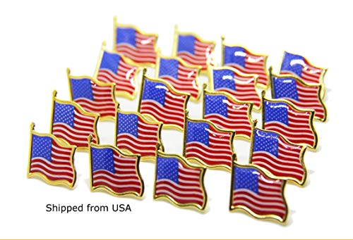 (Lauren Annabelle Studio 20 Lot American Flag Pin Lapel Pins The Stars and Stripes United States USA Tie Tack Badge Quantity 20)