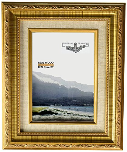 Imperial Frames 8 by 10-Inch/10 by 8-Inch Picture/Photo/Certificate Frame, Dark Gold with Floral Design and a Canvas Liner ()