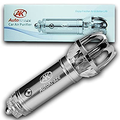 Car Air Purifier, AutoKraze Car Air Freshener, Ionizer, Car Air Freshener, Removes Dust, Cigarette Smoke and Bad Odors - Available For Automobile and RV's